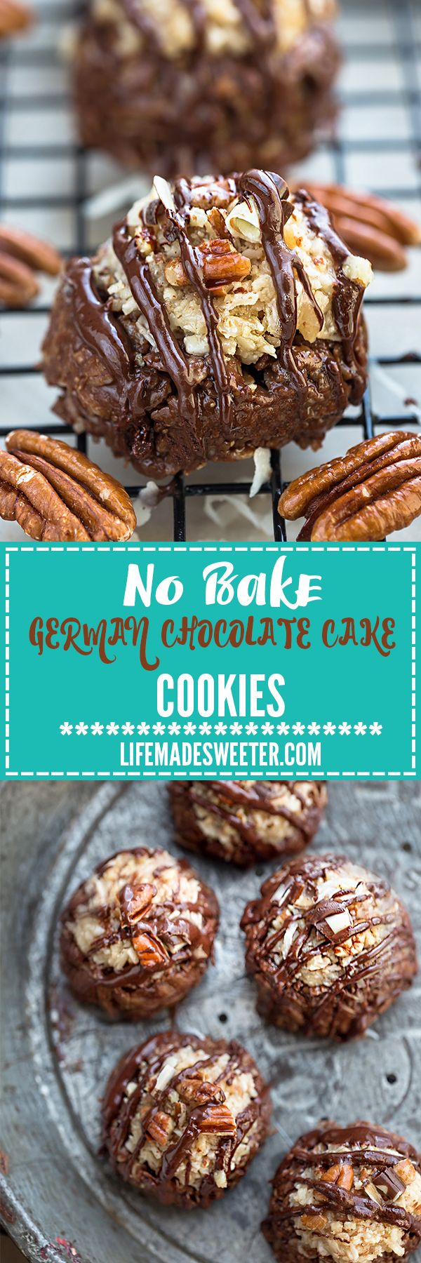 No Bake German Chocolate Cake Cookies make the perfect easy gluten free, paleo and dairy free treat. You will never guess it's healthier since it has all the classic flavors of the popular rich and decadent cake. Loaded with healthy chocolatey oats, a creamy coconut pecan frosting and best of all, no oven required!