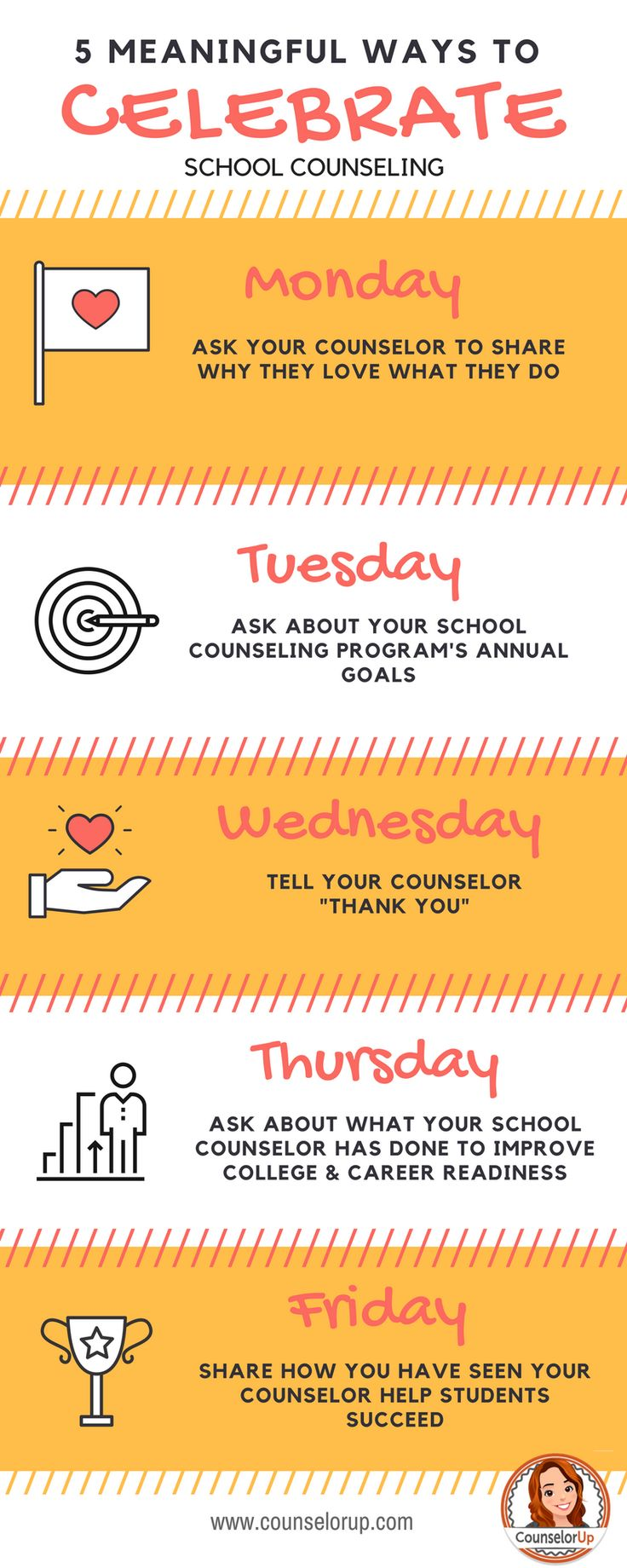 Celebrate National School Counseling week with meaning. Share with administrators, parents, or teachers.