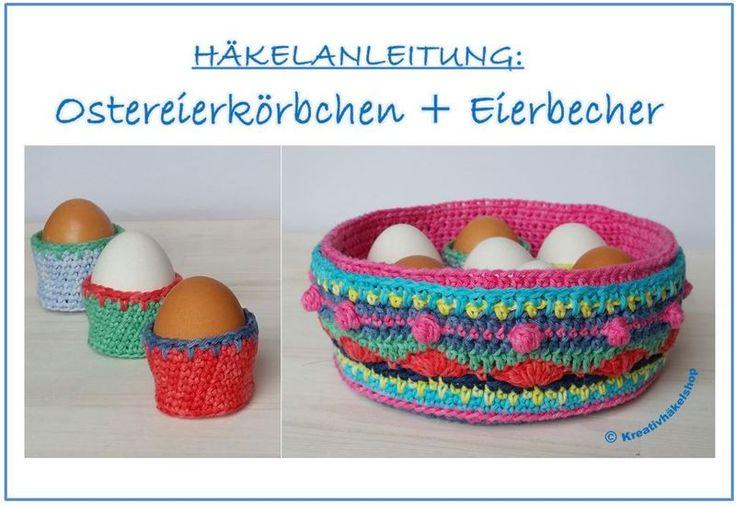 Häkelanleitung Oster-Eierkörbchen mit Eierbechern von kreativhäkelshop auf DaWanda.com