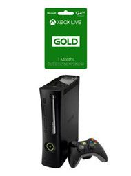 Boxshot: Xbox 360 System - Black with Wireless Controller (Pre-Owned Refurbished) and 3 Month Xbox Live Gold Membership by GameStop