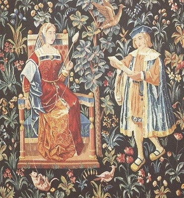 "Medieval Tapestry ~ ""The Noble Lady Spinning Wool"""
