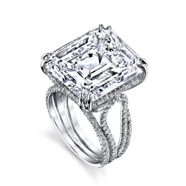 HARRY KOTLAR - Emerald Cut Arabesque Ring - Pave diamonds sparkle and twinkle with romance around platinum wire bands to enhance a stunning emerald cut diamond in this Harry Kotlar piece.