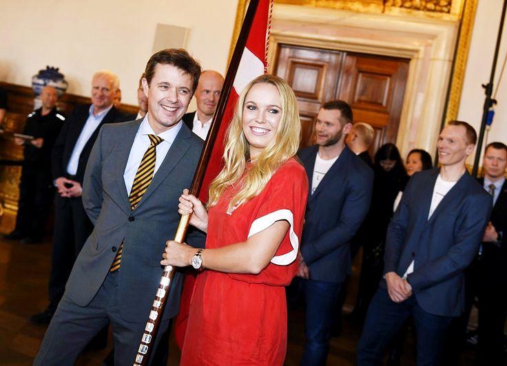 "kronprinsenfrederik: "" 2016.02.05 Crown Prince Frederik presented the tennis player Caroline Wozniacki as Olympic flag bearer for the Danish team at the Olympic Games in 2016 in Rio De Janeiro,..."