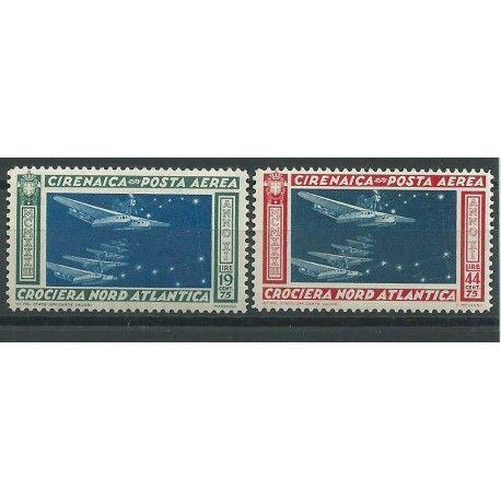1933 CIRENAICA POSTA AEREA CROCIERA NORD ATLANTICA BALBO 2 VAL MNH MF24320