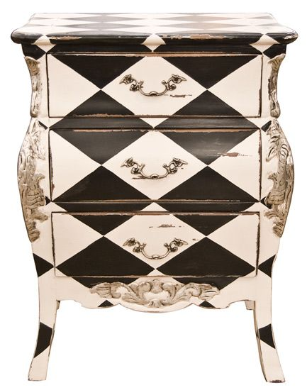 Love this pair of Harlequin bedside tables from the Old Cinema in London.