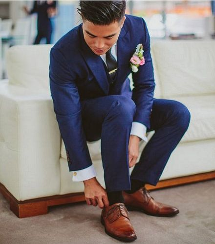 Can we pair #navy blue #tux and #suit with brown #shoes? See the answer at www.wellgroomedbl...