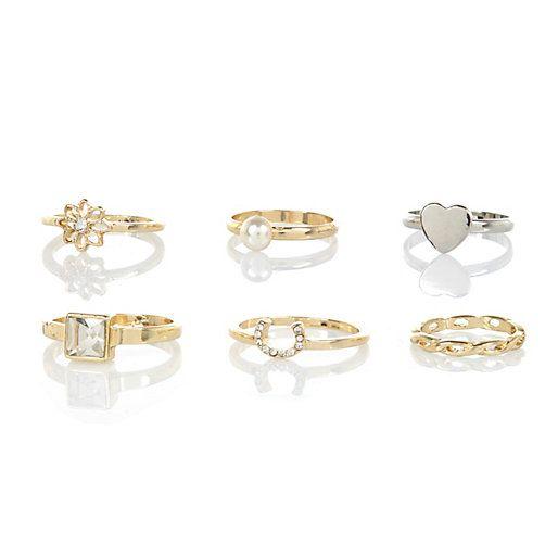 Gold tone mixed ring pack #riverisland