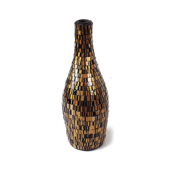Arethusa Vase VAS007S - Glass Mosaic ( Gold on Black ) - Side Angle Elevation - Dimensions : Height - 34 cm ( Overall ) Bottom - Diam. 11 cm Top : Diam. 4 cm