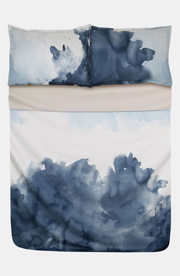 stormy watercolor duvet set. ~ This would be so cool to make with plain white set. Just literally pour globs of RIT Dye, let dry, wash with a cup of salt added to the machine to set the color and there you go!