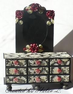 Matchboxes Dresser - DCWV: La Cream, Stampin Up die (boxes), Michaels chipboard frame, quilling - by Helen, Let's Create