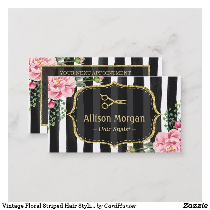 """Vintage Floral Striped Hair Stylist Appointment Ad-Vintage Floral Striped Hair Stylist Appointment Create your own Appointment Card with this stylish """"Vintage Floral Striped Hair Stylist """" template. It's easy and fun!"""