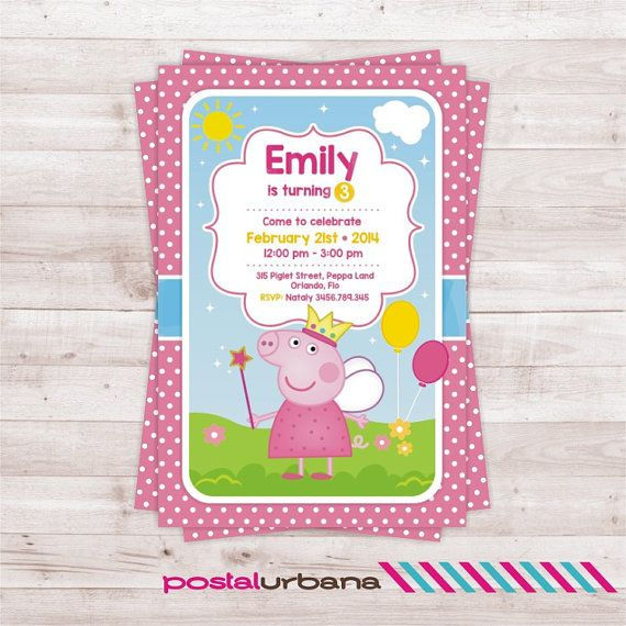 Peppa Pig invitation / Birthday Party Peppa Pig / by PostalUrbana