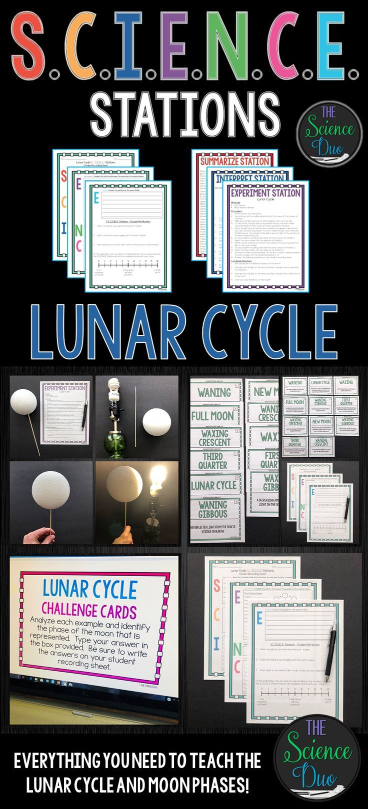 This Lunar Cycle S C I E N C E Station Activity Includes Activities Covering The Lu Lunar Cycle Kindergarten Science Activities High School Science Activities [ 1619 x 736 Pixel ]