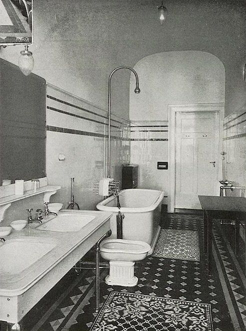 Bathroom in Palace Hotel Wiesbaden, 1905 I could do this in a farm house for master bath