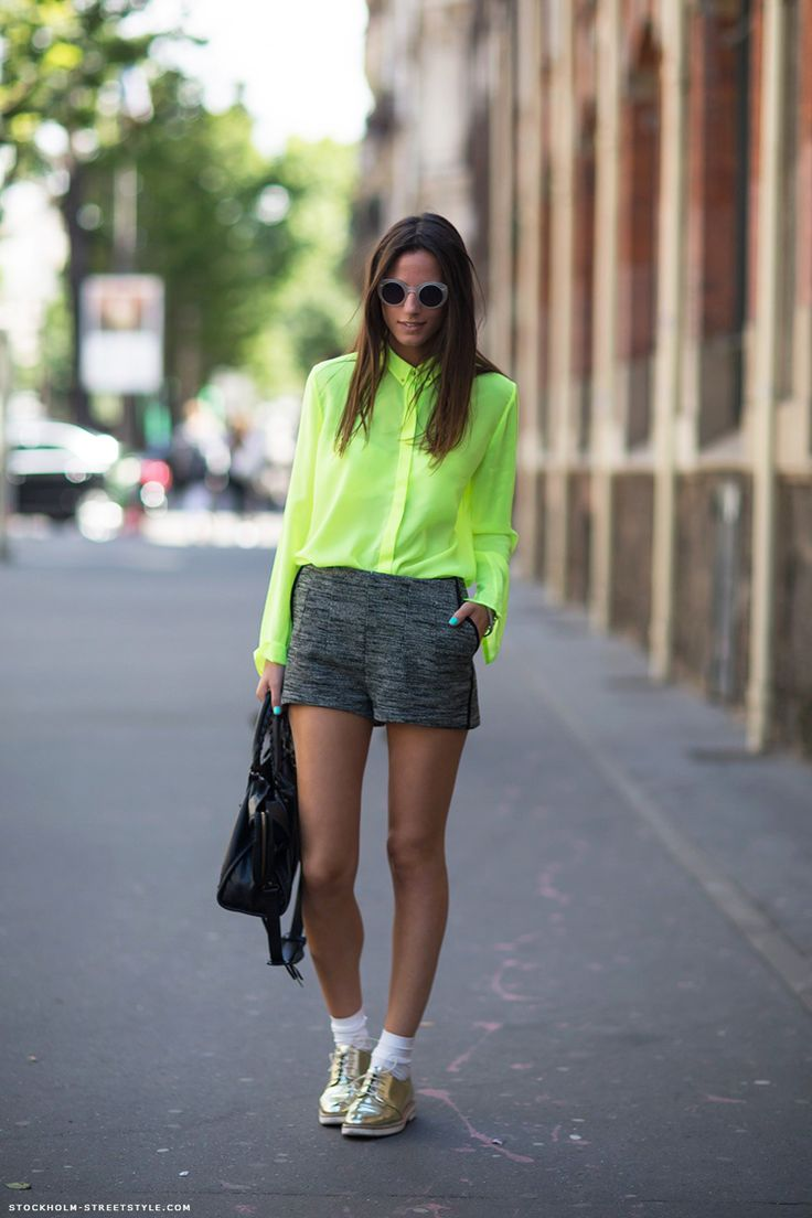 neon shirt and oxfords