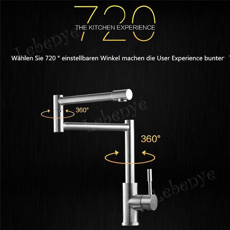 Design Edelstahl Drehbar Wasserhahn Küchen Armatur Spültisch Mischbatterie Neu