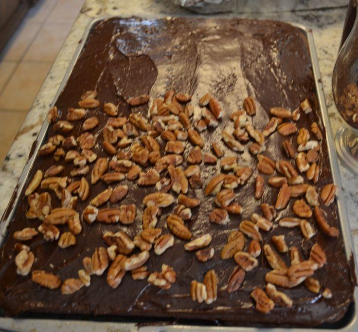 Texas Sheet Cake using store bought cake mix.