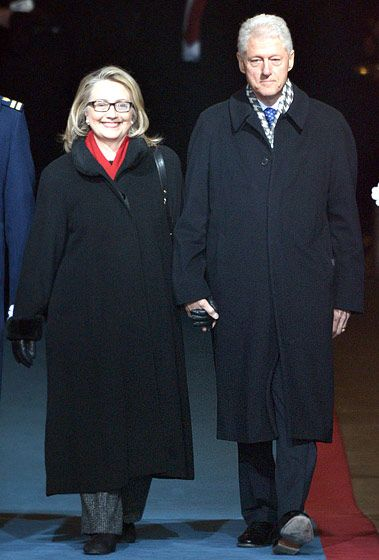 President Obama's first secretary of state, former First Lady and presidential candidate Hillary Clinton, attended the inauguration with husband Bill Clinton.
