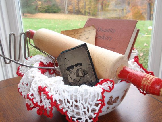 """Vintage Kitchen Gift Basket - includes large Pyrex """"Americana"""" mixing bowl, vintage red-handled rolling pin, retro potato masher, 1922 edition vintage cookbook, hand-croched doily, a tin daguerrotype and handwritten recipes."""