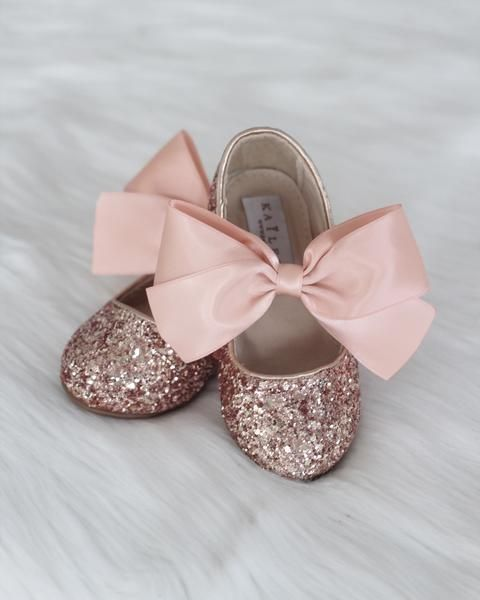 9503dd6ff9c9 ROSE GOLD Rock Glitter Maryjane Flats With ROSE GOLD Satin Bow ...