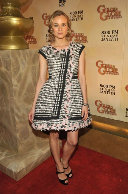 Diane Kruger wearing Jaeger-LeCoultre 101 Art Deco Watch, Christian Louboutin Alta Iowa Mary Jane Peep-Toe Platforms, Chanel RTW Spring 2010 Tweed Bell-Shaped Dress, Chanel Premiere Watch,