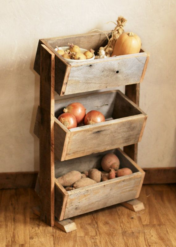 "This vegetable bin is great solution for a small space. This rustic storage container is great for vegetables, kitchen supplies, bathroom towels, or kids' toys. The stacked boxes are perfect for planting flowers, herbs, or succulents. The wood is hardy enough for indoor/outdoor use. SIZE The finished product is 18.5"" wide x 11"" deep x 32.5"" high. Each box is 17.5"" wide x 9"" deep x 6"" tall on the outside. MATERIALS This product has a satin polyurethane finish and is made from lumber…"