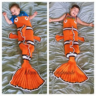 Hi. Thank you for your interest in my Clownfish Tail pattern. I wrote this pattern because I wanted something different from the shark and mermaid tails that had become the biggest rave. To my surprise it was a hit! So I decided to type up this pattern because I had so many requests from my fellow crocheters.