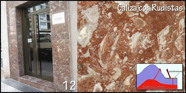 Naturarchives. Geology. Instituto Bidebieta. Donosti. C/ Segundo Izpizua 14 (portal). Tipo de roca: Roca sedimentaria.   Caliza recifal de rudistas (Vizcaya y Guipúzcoa).