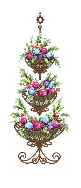 Great colors. Christmas ball ornament topiary vintage image.
