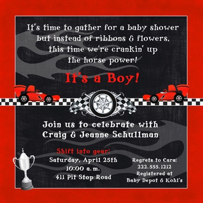 Race Car Baby Shower Invitation - Boy Horsepower Red