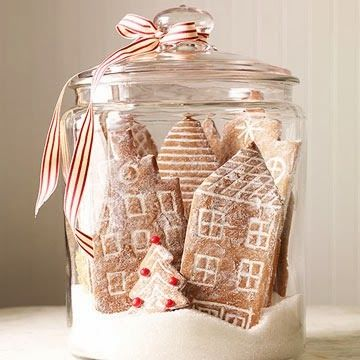gingerbread cookies, inside a clear jar with sugar at bottom. so cute!