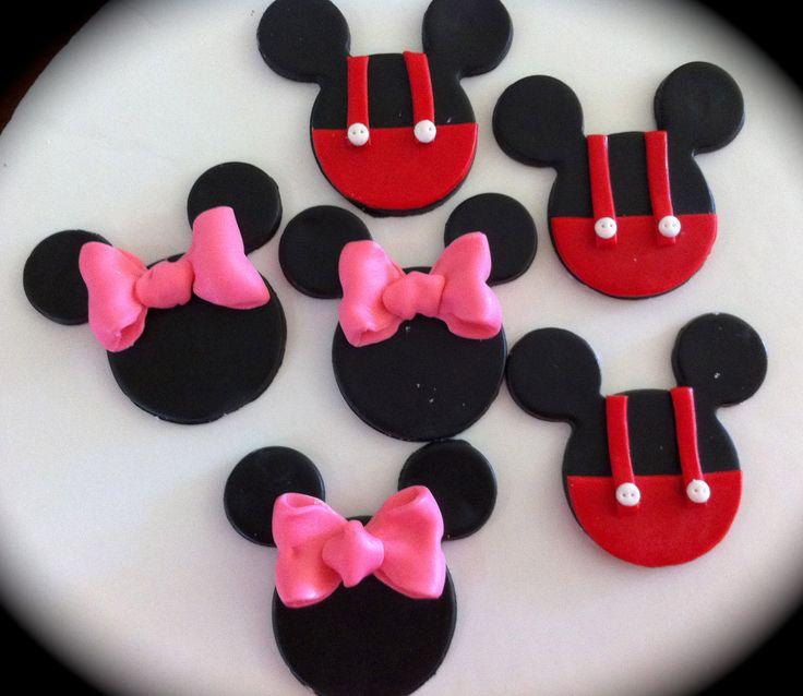 edible/fondant Mini or Mickey Mouse cupcake topper set of 12. $15.00 USD, via Etsy.