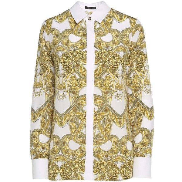 Versace  Baroque-Print Silk-Crepe Shirt (£650) ❤ liked on Polyvore featuring tops, multicolor, versace top, brown long sleeve top, brown shirts, stitch top and versace shirt