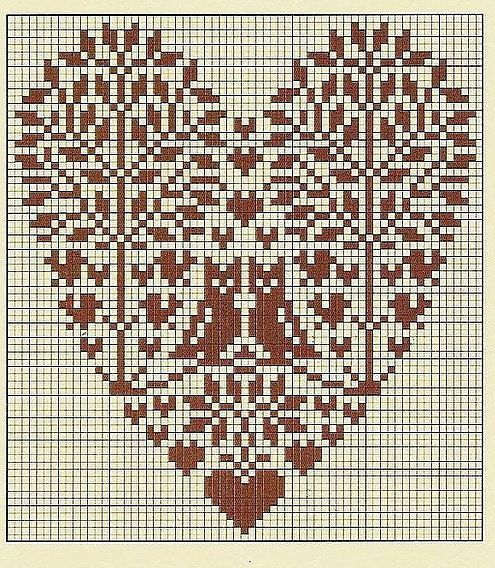 Cross-stitch owl heart trees