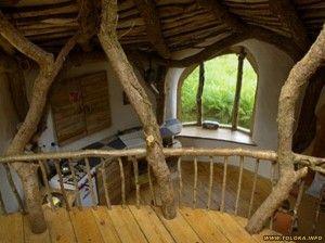 Стволы деревьев и мебель из веток в интерьере