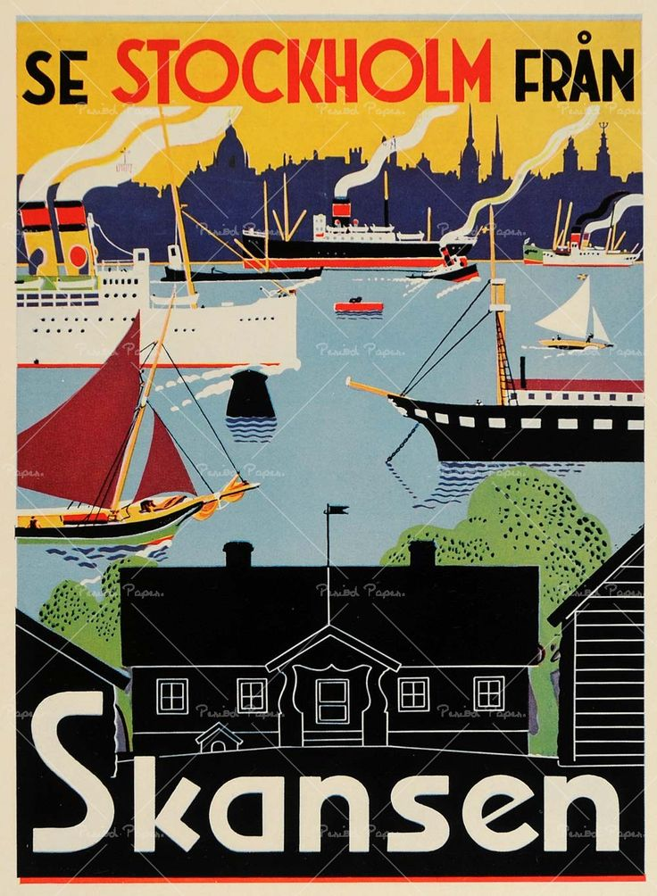 A great poster advertising the first living history museum: Skansen in Stockholm Sweden, founded 1891. Skansen is part Swedish heritage museum, part regional zoo. It sits on a steeply pitched hill at the center of one of the fourteen islands at the ...