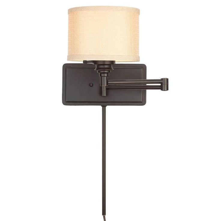 Hampton Bay 1-Light Brookhaven Swing Arm Sconce with 6 ft. Cord and 1 ft. Wire Cover-EW0780OBR - The Home Depot
