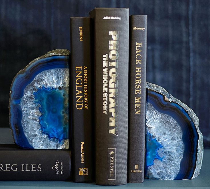 Style meets functionality with agate bookends.