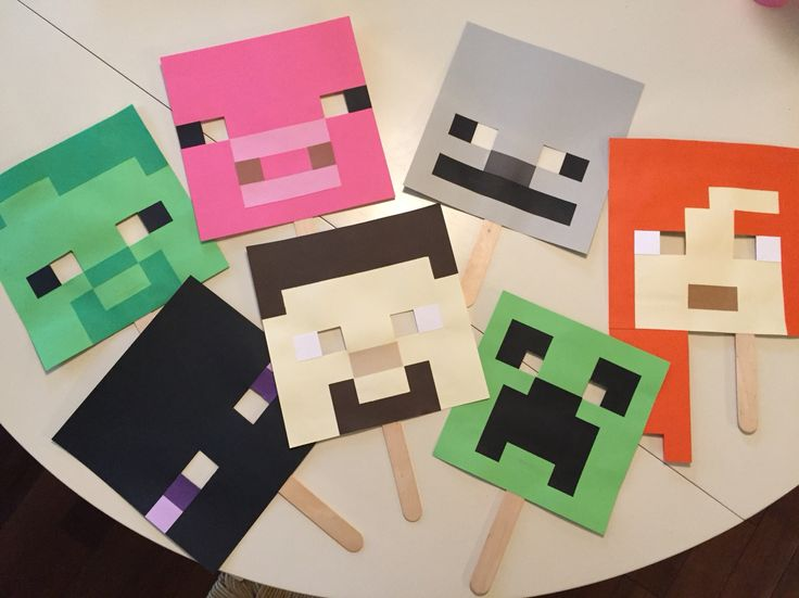 Minecraft play masks. A hit at any party for all mini minecraft fans! Zombies, creepers, skeletons, endermans, even Alex and Steve!
