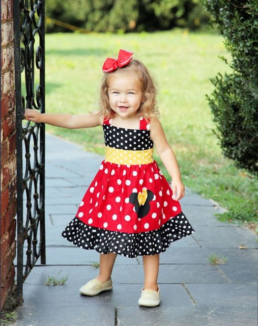 Custom Boutique Clothing Minnie Mouse Med Red Yellow  Sassy Girl Dress