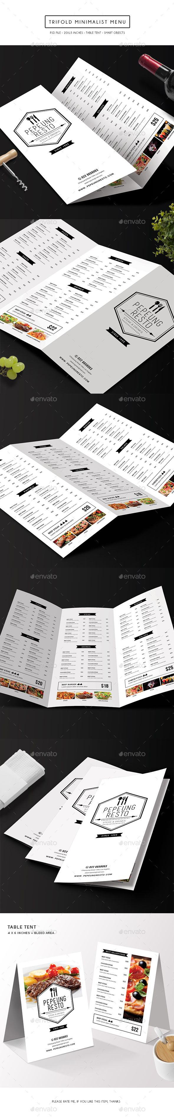 Trifold Minimalist Menu Template PSD #design Download: http://graphicriver.net/item/trifold-minimalist-menu/14377629?ref=ksioks