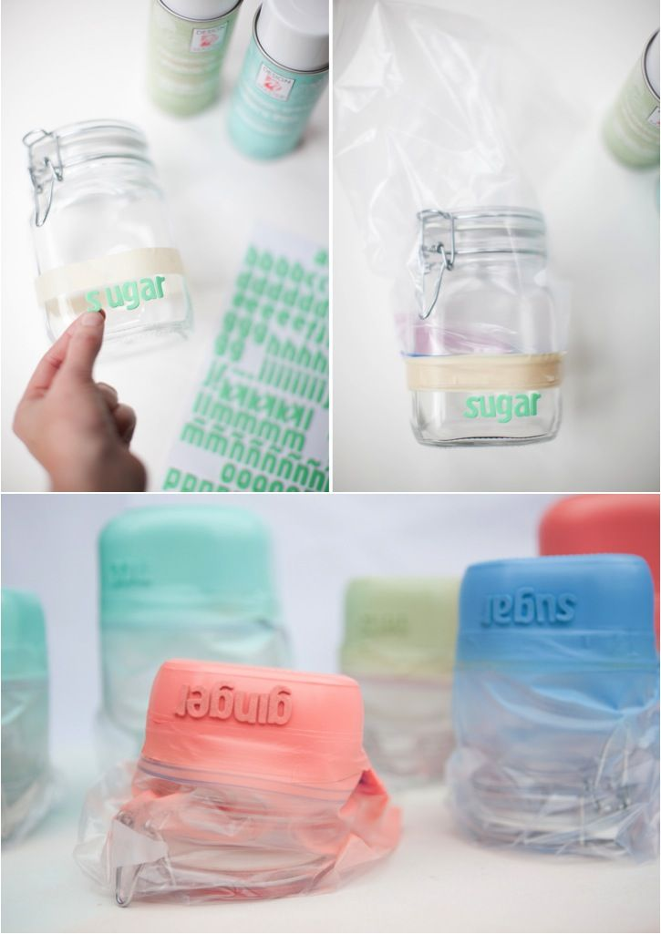 DIY dipped jars with foam letters as stencils