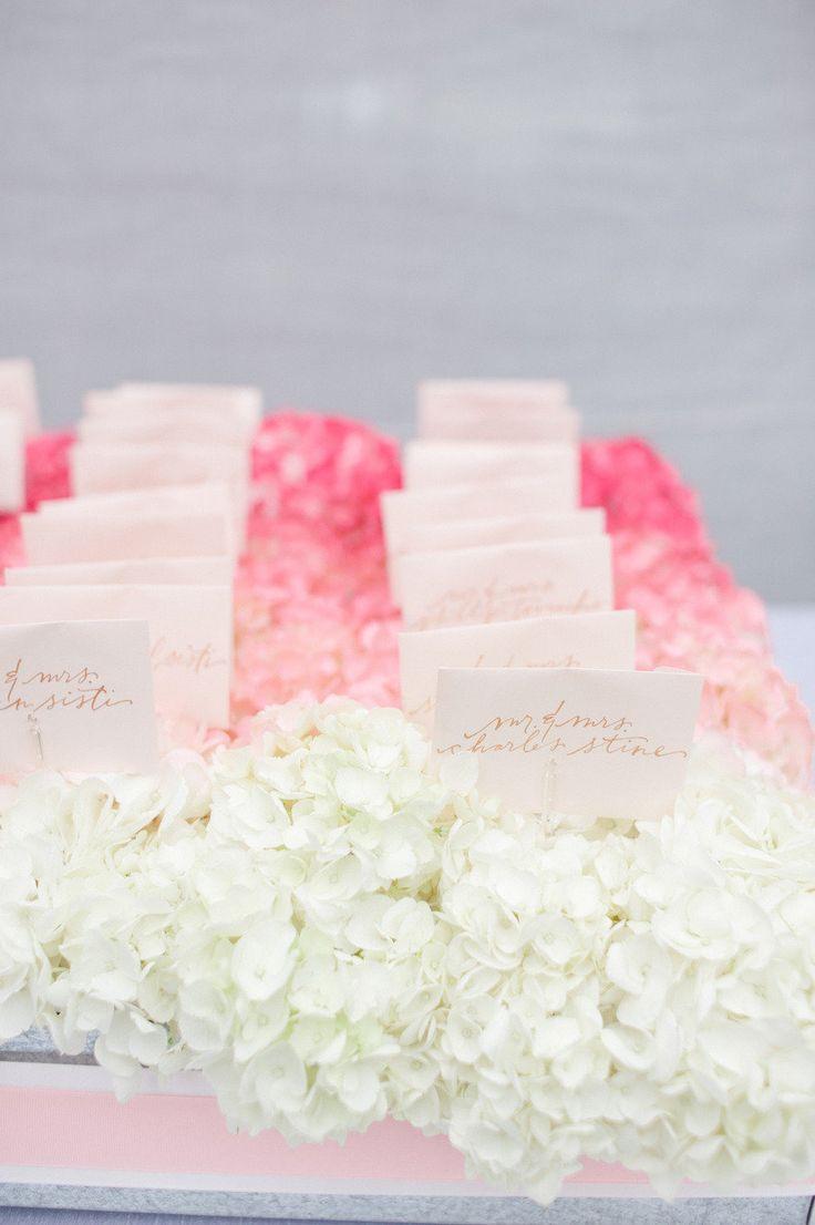 Escort Cards Nestled in Pink Ombre Hydrangeas!