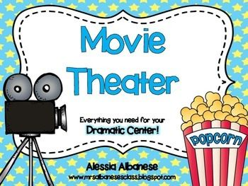 "Turn your Dramatic Center into a fun and engaging movie theater! Your students can add to this center by creating their own movie posters (or you can use the ones included). You can set up a movie theater in your classroom by using an overhead projector (to show the ""movie"") and arranging chairs in front of it."