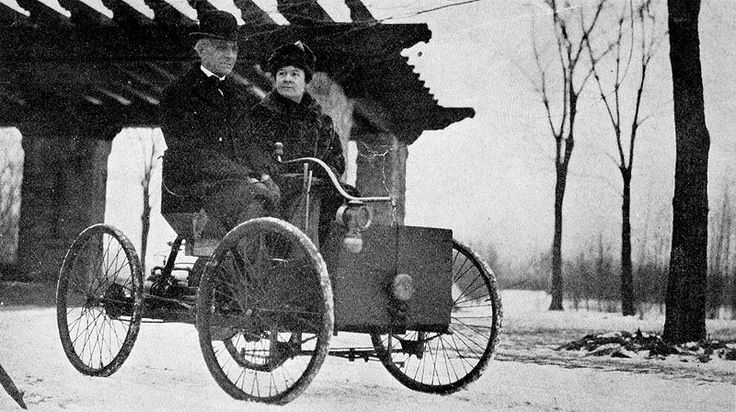 Mr and Mrs Henry Ford in his first car.  Henry Ford (July 30, 1863 – April 7, 1947) was an American industrialist, the founder of the Ford Motor Company, and sponsor of the development of the assembly line technique of mass production. Although Ford did not invent the automobile, he developed and manufactured the first automobile that many middle class Americans could afford to buy.