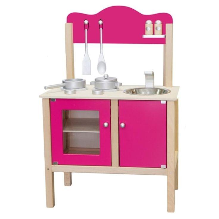 Diese Spielküche aus Holz ist das perfekte Spielzeug für alle kleinen angehenden Köche und Köchinnen. Zur Küche gehören zahlreiche Kochutensilien, wie beispielsweise ein Pfannenwender, ein Löffel, Töpfe, und ein Salz- und Pfefferstreuer.