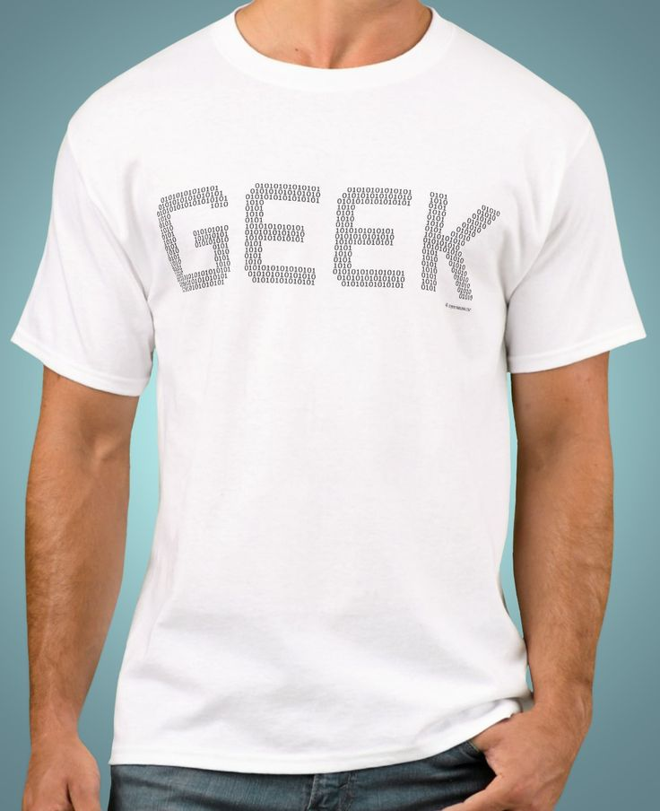 Geek T-Shirt Binary Code Computer Programmer Freak Tee. Great design for computer freaks and geeks. It's cool and not nerdy. This geek t shirt features the word 'GEEK' made of little 1 and 0 numbers like a binary code. This T-shirt is easily customized. You can add text or re position the image if you like. This geek T-shirt is also available in many other shirt styles and colors for men, women and children. #geektshirts