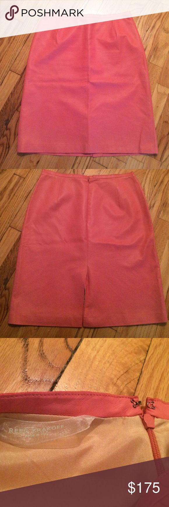 Reek Krakoff Pink Leather Pencil Skirt Reek Krakoff Pink Leather Pencil Skirt. Couple signs of wear but definitely in good condition. Hidden back zipper. Photo on model is the same skirt but in a different color. Reed Krakoff Skirts Pencil