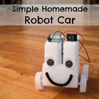 Simple first robot project for kids. Make a fun car with a motor, battery pack, and switch. Great for budding robotics enthusiasts!