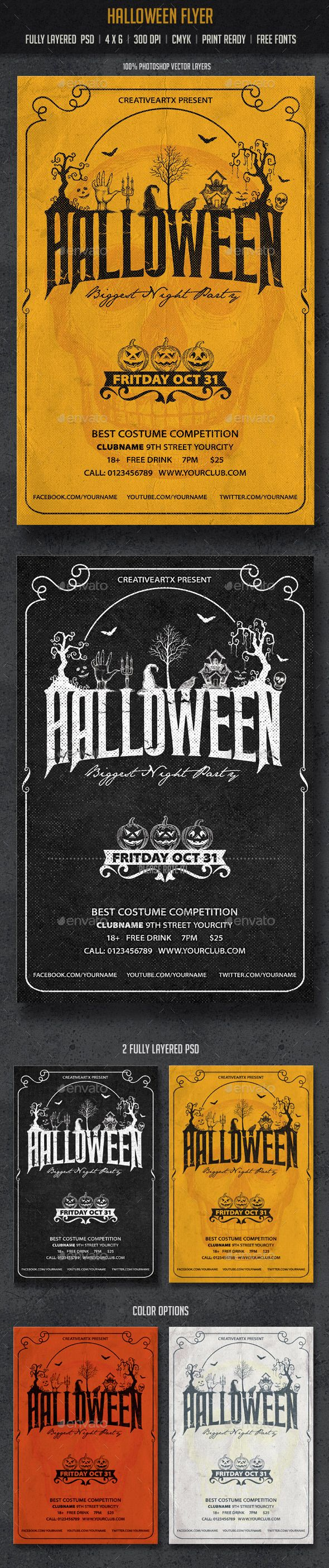 Halloween Flyer Template PSD | Buy and Download: http://graphicriver.net/item/halloween-flyer/8928281?WT.ac=category_thumb&WT.z_author=creativeartx&ref=ksioks